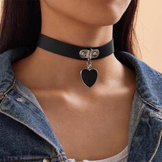 Herz Zierlich Legierung Kunstleder Halsketten