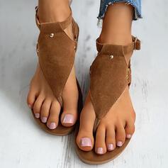 Frauen Veloursleder Flascher Absatz Sandalen Flip Flops Pantoffel mit Schnalle Blume Schuhe