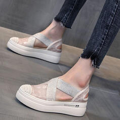 Women's Cloth Wedge Heel Sandals Platform Wedges Peep Toe Heels With Hollow-out Bandage shoes