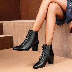 Frauen Kunstleder Stämmiger Absatz Absatzschuhe Stiefel Stiefelette Spitze mit Reißverschluss Knopf Schuhe