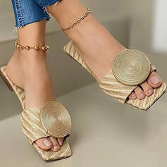 Women's PU Flat Heel Sandals Flats Peep Toe Slippers With Beading Hollow-out shoes