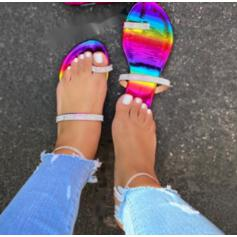 Women's Patent Leather PU Flat Heel Sandals Flats Slippers Toe Ring With Rhinestone shoes