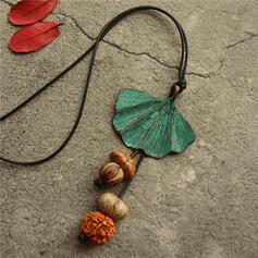 Vintage Classic Alloy Wood With Leaf Women's Men's Necklaces
