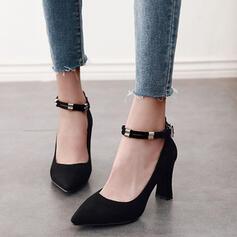 Frauen PU Stämmiger Absatz Absatzschuhe Spitze mit Schnalle Schuhe