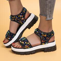Women's PU Flat Heel Sandals Pumps Peep Toe Slippers Heels With Sequin Sparkling Glitter Velcro shoes