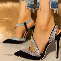 Frauen PU Stöckel Absatz Absatzschuhe Spitze Schuhe