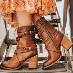 Women's PU Chunky Heel Pumps Mid-Calf Boots Round Toe With Buckle Zipper Solid Color shoes