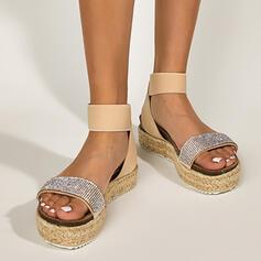 Women's PU Flat Heel Sandals Flats Platform Peep Toe With Rhinestone Hollow-out shoes