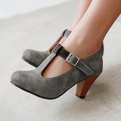 Frauen PU Stämmiger Absatz Absatzschuhe Round Toe mit Schnalle Hohl-out Schuhe