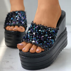 Frauen PU Keil Absatz Sandalen Plateauschuh Keile Peep Toe Pantoffel mit Funkelnde Glitzer Schuhe