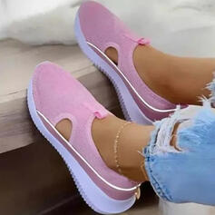 Women's Cloth Mesh Flat Heel Flats Round Toe Sneakers Slip On With Solid Color shoes