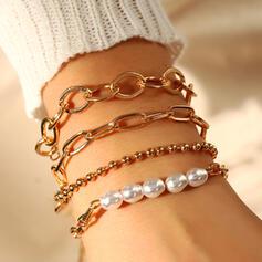 Modisch Geschichtet Faux-Perlen Metall mit Faux-Perlen Armbänder 4 STÜCK