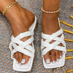 Women's PU Flat Heel Sandals Peep Toe Slippers With Solid Color shoes