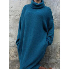 Einfarbig Lange Ärmel Shift Pullover Freizeit Midi Kleider