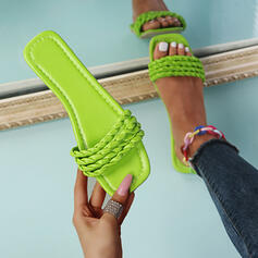 Women's PU Flat Heel Sandals Flats Peep Toe Slippers With Hollow-out Braided Strap Solid Color shoes