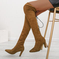 Women's Suede Chunky Heel Over The Knee Boots Pointed Toe With Zipper Solid Color shoes