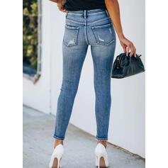 Shirred Plus Size Ripped Elegant Sexy Skinny Denim & Jeans