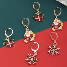 Glänzende Weihnachten Weihnachten Sankt Legierung mit Strasssteine Ohrringe 6 PCS