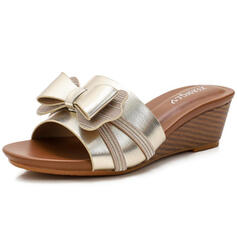 Women's PU Wedge Heel Sandals Wedges Peep Toe Slippers Heels With Bowknot Hollow-out shoes