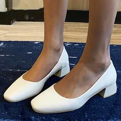 Frauen PU Stämmiger Absatz Absatzschuhe Quadratischer Zeh Schuhe