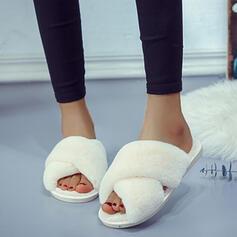 Frauen Veloursleder Kunstleder Flascher Absatz Sandalen Peep Toe Pantoffel mit Pelz Schuhe
