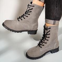 Women's Leatherette Chunky Heel Martin Boots Round Toe With Solid Color shoes