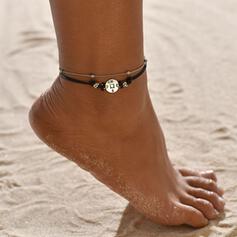 Einfache Legierung Lederseil mit Etikett Münze Strandschmuck Fußkettchen (Set von 2)