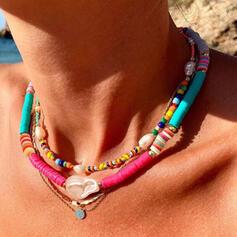 Boho Geschichtet Legierung Weichen Lehm mit Nachahmungen von Perlen Schale Schmuck Sets Halsketten Armbänder (3-er Set)