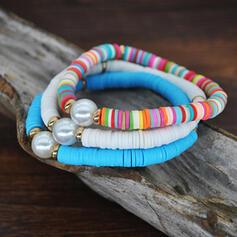 Boho Anhänger Legierung Perle Weichen Lehm mit Perlen Armbänder 3 PCS