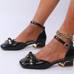 Women's PU Chunky Heel Sandals Pumps Closed Toe Square Toe Heels With Beading Rivet Buckle shoes