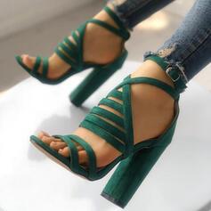 Women's Suede Chunky Heel Sandals Pumps Heels With Buckle shoes
