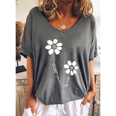 Floral Letter Round Neck Short Sleeves T-shirts