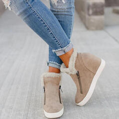 Women's Microfiber Flat Heel Ankle Boots Snow Boots Round Toe Winter Boots With Zipper shoes