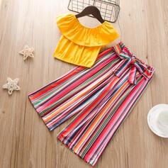 2-pieces Toddler Girl Ruffle Striped Print Cotton Set