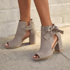 Women's Suede Chunky Heel Pumps Heels With Bowknot Lace-up Hollow-out Solid Color shoes