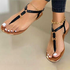 Women's PU Flat Heel Sandals Flats Flip-Flops With Buckle shoes