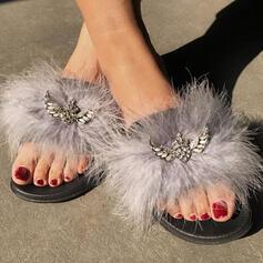 Frauen Kunstpelz Flascher Absatz Sandalen Peep Toe mit Strass Schuhe
