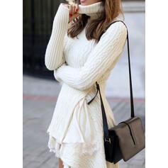 Einfarbig Rollkragen Freizeit Lang Pulloverkleid