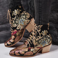 Women's PU Chunky Heel Ankle Boots Low Top With Lace-up Floral Embroidery shoes