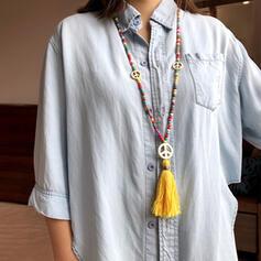 Bunte Boho Naturstein Baumwollschnur Perlen mit Quasten Perlen Halsketten