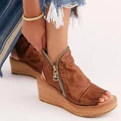 Women's PU Wedge Heel Sandals Wedges Peep Toe Heels With Zipper Solid Color shoes