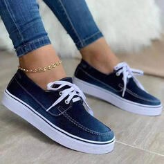 Women's Cloth Flat Heel Flats Round Toe Espadrille Sneakers Loafers & Slip-Ons With Lace-up Splice Color shoes
