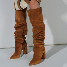 Women's Suede Chunky Heel Over The Knee Boots Snow Boots Winter Boots With Solid Color shoes