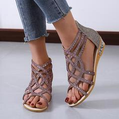 Frauen PU Flascher Absatz Sandalen Peep Toe Slingpumps mit Strass Reißverschluss Hohl-out Schuhe