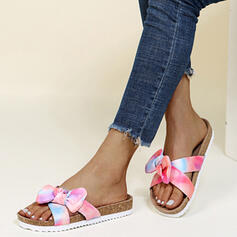 Women's PU Flat Heel Sandals Flats Peep Toe Slippers With Bowknot Splice Color shoes
