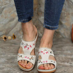 Women's PU Flat Heel Sandals Peep Toe Slippers With Hollow-out Floral Print shoes
