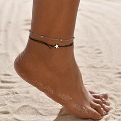 Einfache Legierung Lederseil mit Star Strandschmuck Fußkettchen (Set von 2)
