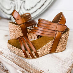 Women's PU Wedge Heel Sandals Wedges Peep Toe Heels Round Toe With Hollow-out Solid Color shoes