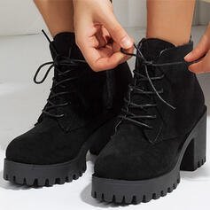 Women's Suede Chunky Heel Ankle Boots Low Top With Zipper Lace-up Solid Color shoes