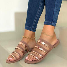 Women's PU Flat Heel Sandals Peep Toe Slippers With Hollow-out Splice Color shoes